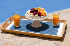 Breakfast in poolside. Healthy breakfast in poolside, greece Stock Photo