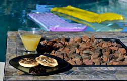 Breakfast Poolside Royalty Free Stock Photos