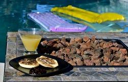Breakfast Poolside Royalty Free Stock Photos