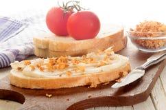 Breakfast with pork lard and crispy onion on slice of bread Royalty Free Stock Image