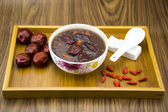 Breakfast porridge, red dates, wolfberry fruit, ri Stock Photo