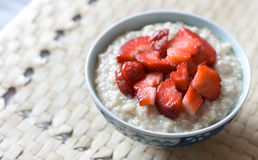 Breakfast porridge with strawberries Royalty Free Stock Photos