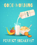 Breakfast Poster With Good Morning Wishing. Perfect breakfast poster in retro style with good morning wishing and healthy food icons set of milk fruit and cereal Stock Images
