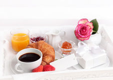 Breakfast with present Stock Images