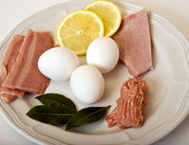 Breakfast Protiens. Eggs, turkey bacon, ground chicken and lean ham as healthier alternatives for breakfast proteins Stock Photo