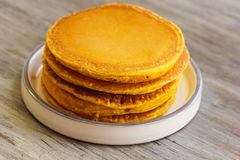 Breakfast - Pumpkin Pancake for autumn,fall and Halloween Stock Photos