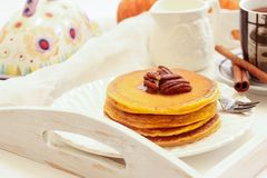Breakfast - Pumpkin Pancake for autumn,fall and Halloween Stock Photo