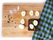 Breakfast with quail eggs flat lay Royalty Free Stock Photo
