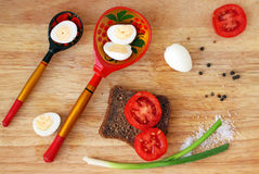 Breakfast with quail eggs flat lay Royalty Free Stock Image