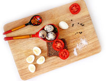Breakfast with quail eggs flat lay Stock Images