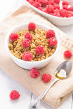 Breakfast with raspberries and honey. Fresh granola breakfast with raspberries and honey stock photography