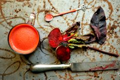 Breakfast with red beet juice on a vintage table Stock Image