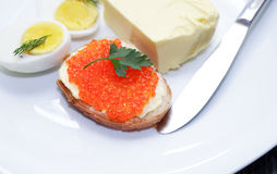 Breakfast With Red Caviar Stock Photography