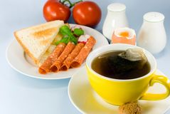 Breakfast with red tea,boiled Royalty Free Stock Photography