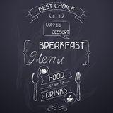 Breakfast on the restaurant menu chalkboard Stock Photo