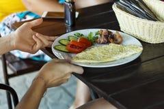 Breakfast, restaurant, Omelette, vegetables, bacon, healthy, lifestyle, stock photo