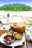 Breakfast at restaurant with view Royalty Free Stock Image