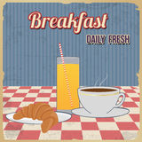 Breakfast retro poster Stock Photo
