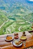 Breakfast  rice paddy terrace fields Philippines Stock Image