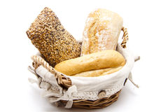 Breakfast rolls in the basket Royalty Free Stock Photo