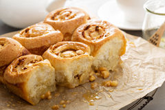 Breakfast rolls with honey and nuts Royalty Free Stock Photo