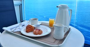 Breakfast by room service Royalty Free Stock Photo