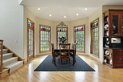 Breakfast room with wall of windows Royalty Free Stock Photos