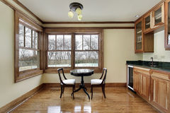 Breakfast room with wood cabinetry Stock Image
