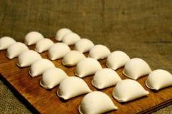 Breakfast in Russian, dumplings on the village Stock Photo