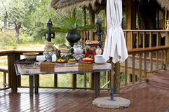 Breakfast in safari lodge. Healthy breakfast in safari lodge in Africa Royalty Free Stock Photography