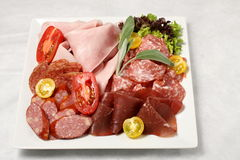 Breakfast salami and ham selection Stock Images