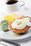 Breakfast with salmon and poached egg Royalty Free Stock Image