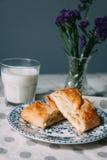 Breakfast. Samsa with cheese and milk. Yekaterinburg royalty free stock photos