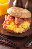 Breakfast sandwich on bagel with egg bacon cheese Stock Image
