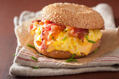 Breakfast sandwich on bagel with egg bacon cheese Royalty Free Stock Image