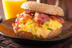 Breakfast sandwich on bagel with egg bacon cheese Stock Photography