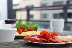 Breakfast with sandwich and coffee. Healthy breakfast with sandwiches and coffee in french press, scandinavian style royalty free stock photo