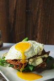 Breakfast sandwich, croque madame with fried egg with ham and me Stock Image
