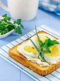 Breakfast sandwich with eggs, parsly, green onion. Breakfast sandwich with eggs, parsly and green onion Stock Photo