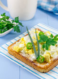 Breakfast sandwich with eggs and verdure. Breakfast sandwich with eggs, parsly, green onion and green chili pepper Royalty Free Stock Photography