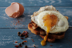 Breakfast - sandwich with fried egg and bacon Stock Image