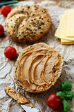 Breakfast sandwich. Healthy sandwich made of wholegrain bread roll and peanut spread Stock Photo
