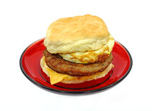 Breakfast Sandwich On Red Plate Stock Photos