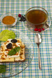 Breakfast sandwich and tea_11. Breakfast - sandwich, egg and tea Stock Image