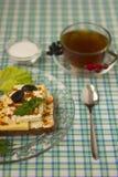 Breakfast sandwich and tea_8. Breakfast - sandwich, egg and tea Royalty Free Stock Photo