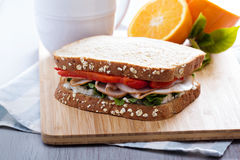 Breakfast sandwich with turkey Stock Image