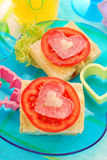 Breakfast with sandwiches for child Stock Photography