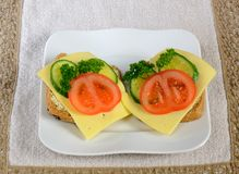 Breakfast sandwiches ready to eat Royalty Free Stock Photos