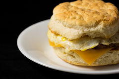 Breakfast sausage egg and cheese biscuit close view Stock Photo