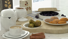 Breakfast scene close-up. 3d render Stock Photos